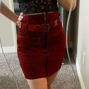 Fashion nova red sparkly skirt